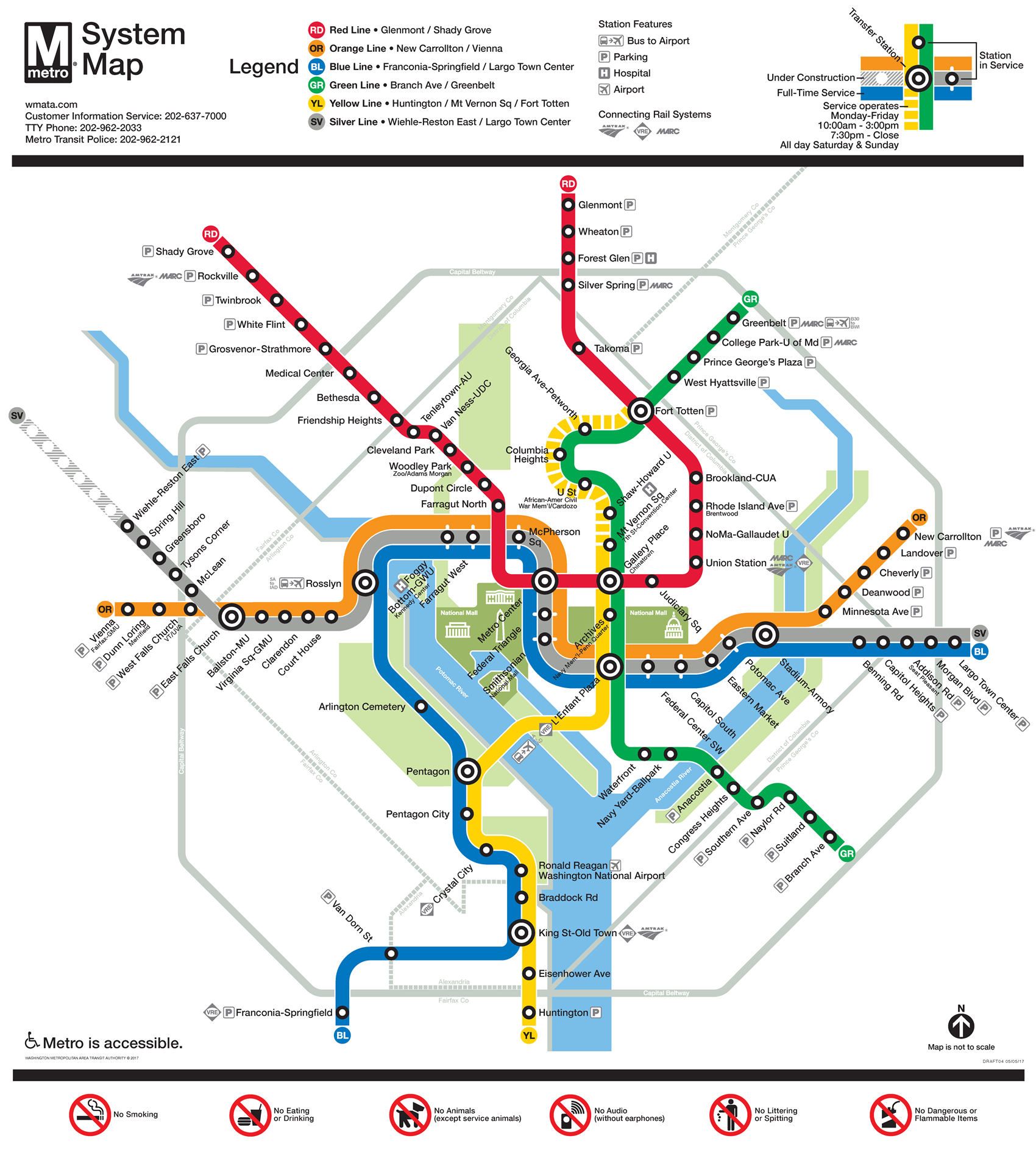 image of wmata metrorail system map