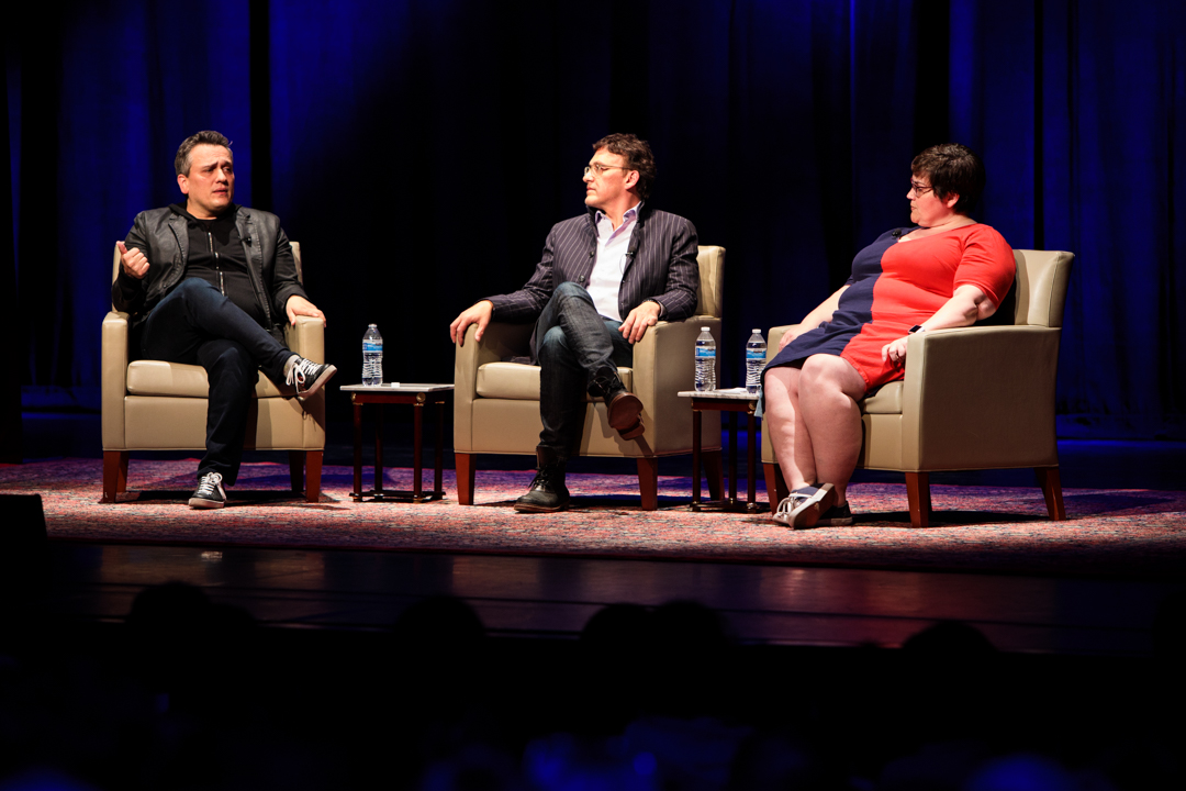 Joe Russo, Anthony Russo and Linda Holmes. (William Atkins/GW Today)