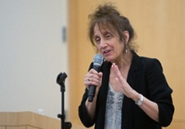 Renowned choreographer, educator and GW alumna Liz Lerman speaks at the 14th annual Women's Leadership Conference.