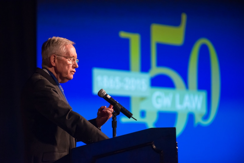 Sen. Harry Reid (D-Nev.) speaks at the GW Law Fall Dean's Dinner.