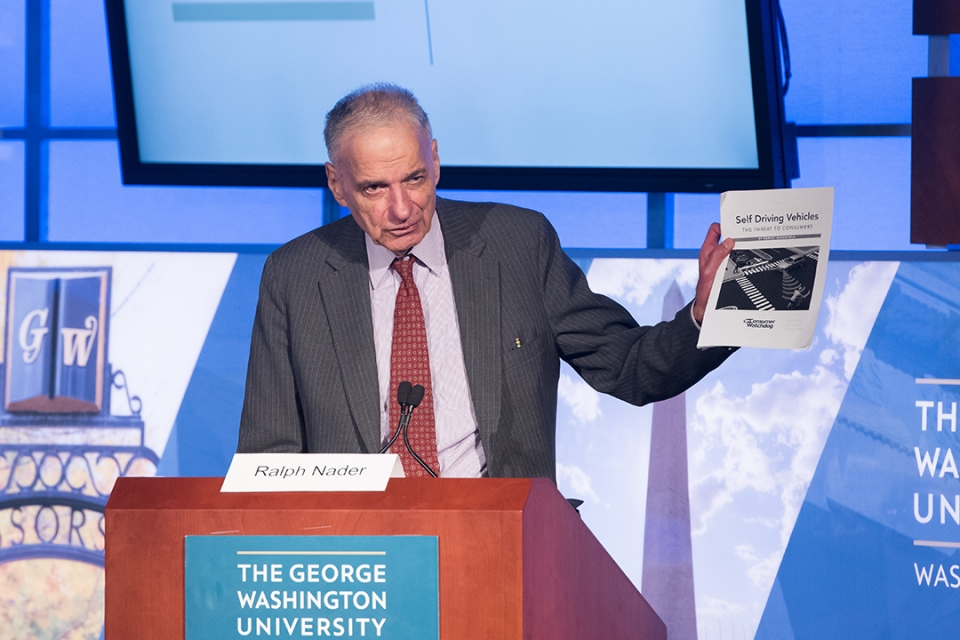 "Ralph Nader gave a special address at ""Driverless Cars: The Legal Landscape."""