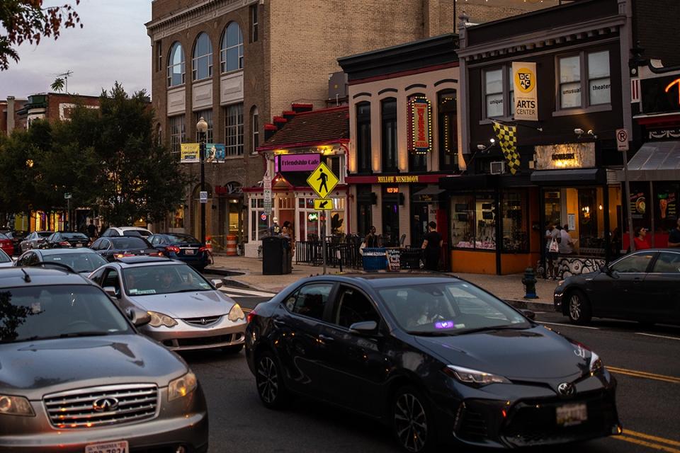 Image of cars in Adams Morgan. (Harrison Jones/GW Today)