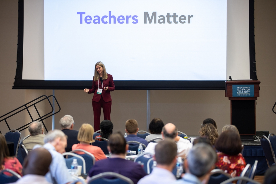 Keynote speaker Claire Howell Major discussed how teachers can learn from evaluation. (Harrison Jones/GW Today)