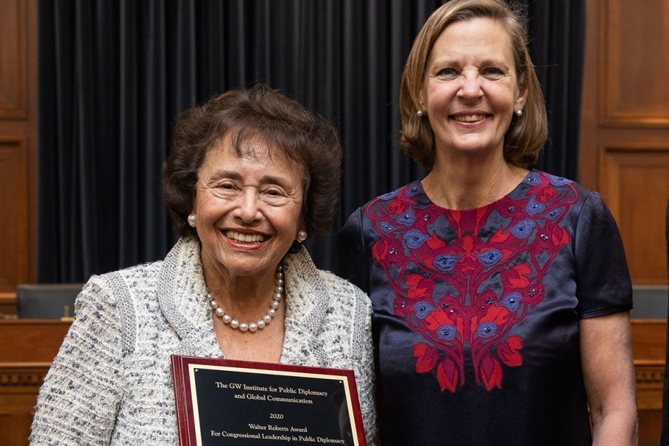 U.S. Rep. Nita Lowey and IPDGC Director Janet Steele at Wednesday's award ceremony. (Courtesy Office of Nita Lowey)