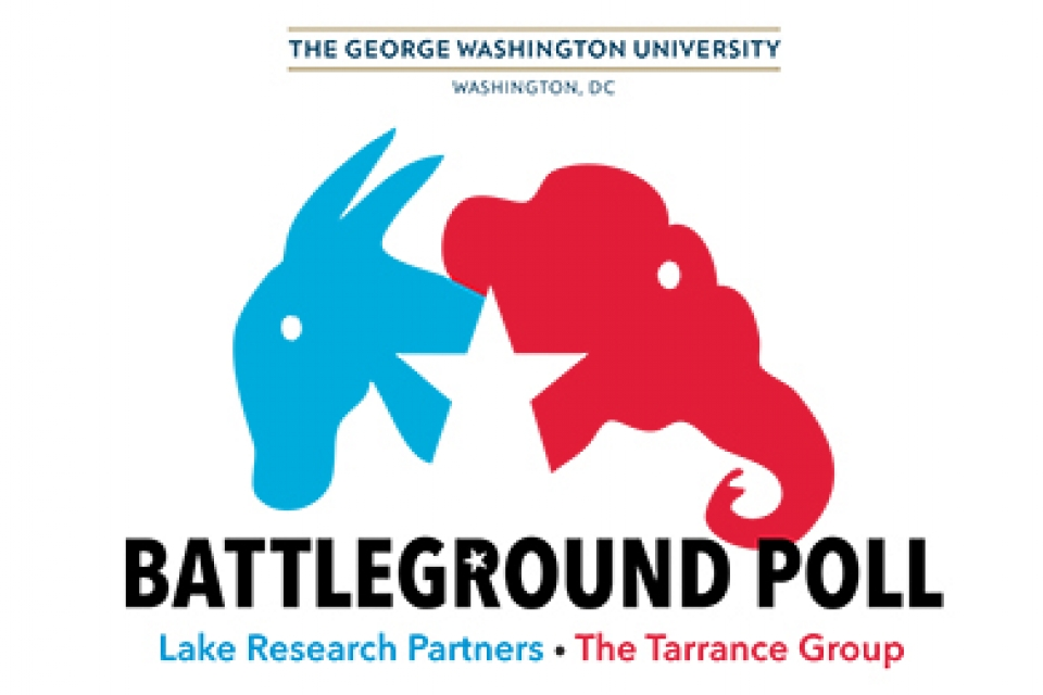 GW Battleground Poll logo with blue donkey and red elelphant