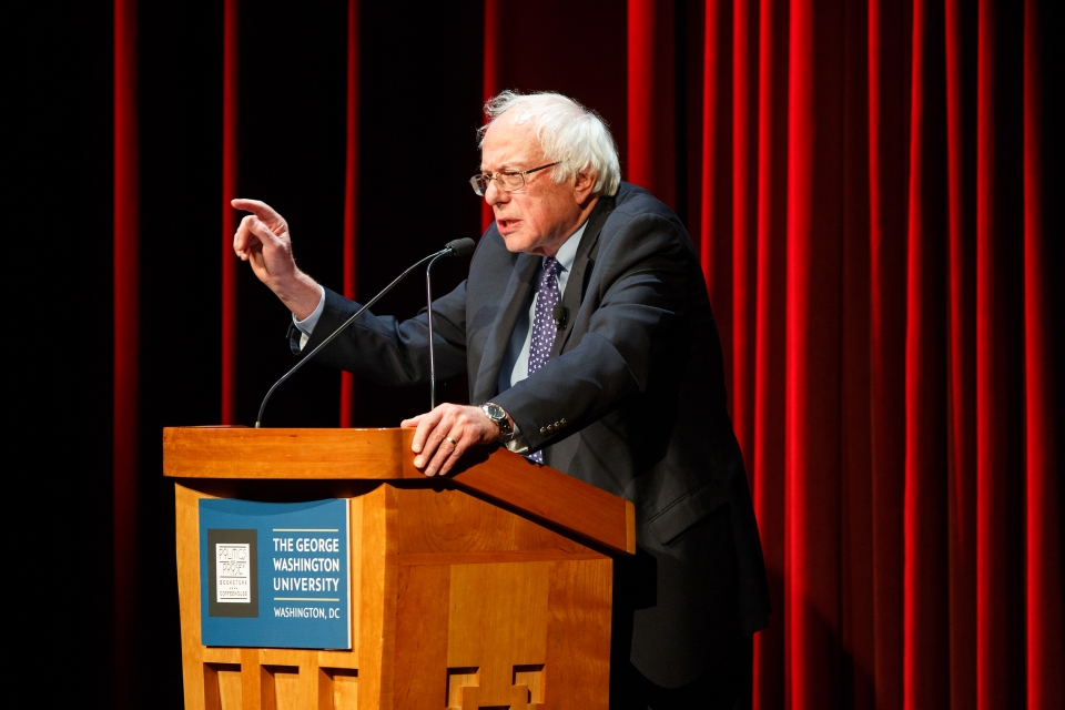 Bernie Sanders at Lisner in 2016. (William Atkins/GW Today)