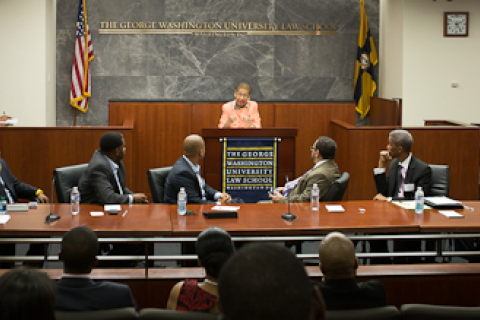 """Rep. Eleanor Holmes Norton, D-D.C., addresses opening remarks to panelists and audience members at the """"Black Male Experience"""""""