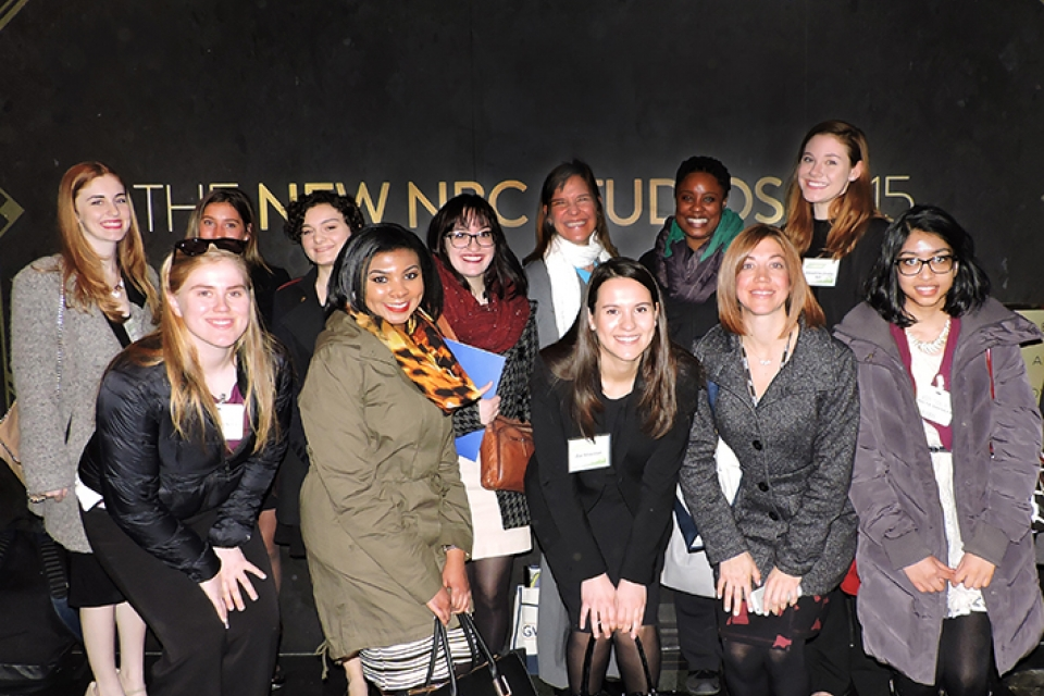 Group of smiling GW Career Quest students