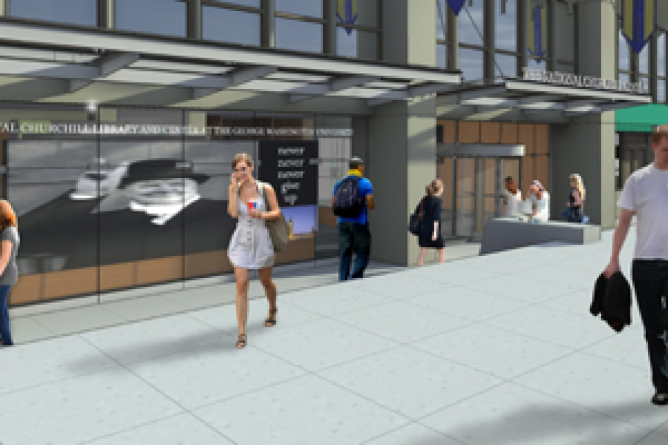 Rendering of exterior of Gelman Library and the National Churchill Library and Center