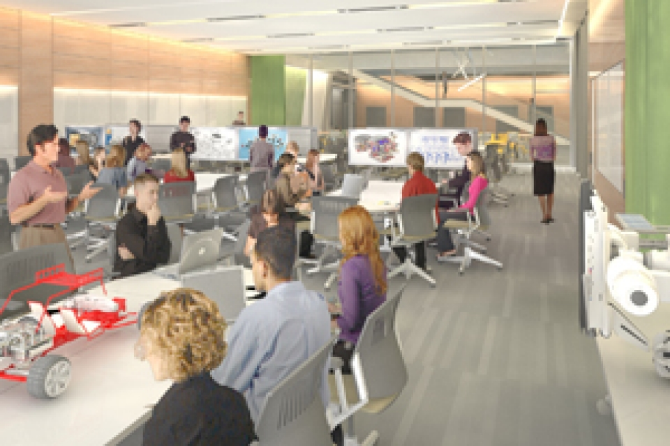 rendering of Science & Engineering complex space including students sitting at long tables working on computers