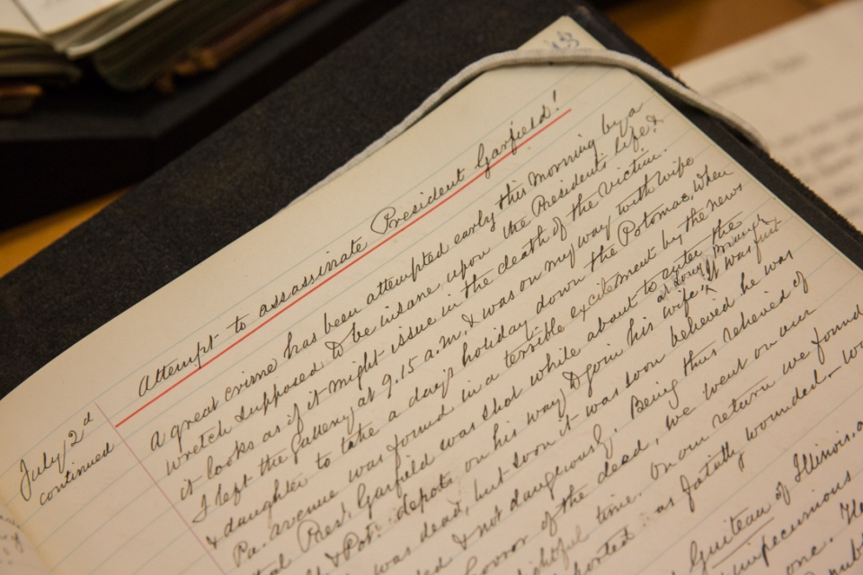 """The page from William MacLeod's journal headed """"Attempt to assassinate President Garfield!"""""""