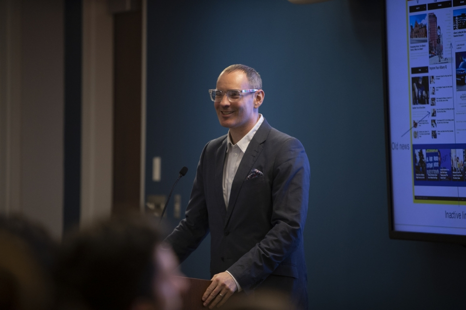 Craig Silverman was hosted by the Institute for Data, Democracy and Politics. (Maansi Srivastava/GW Today)
