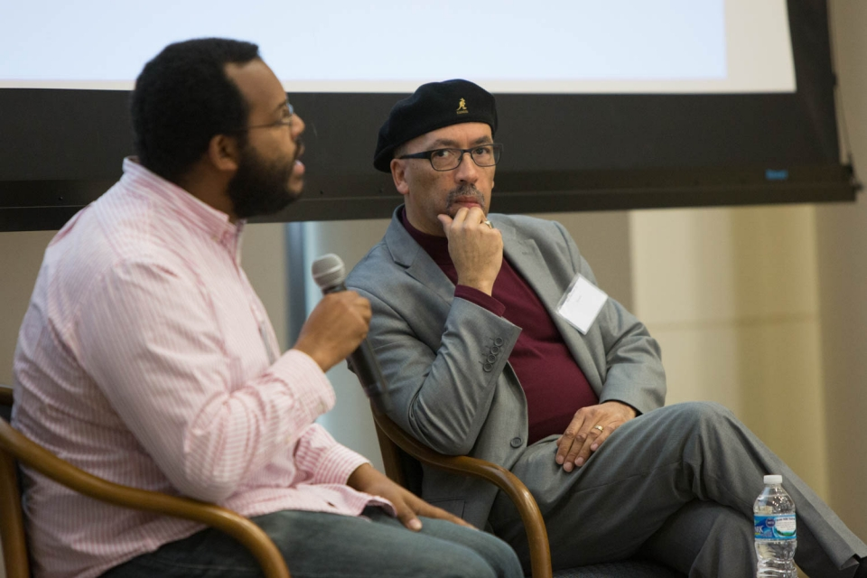 Moderator Eugene Puryear talks housing justice and the future of cities with activist Bill Fletcher, Jr. (Logan Werlinger/GW Tod