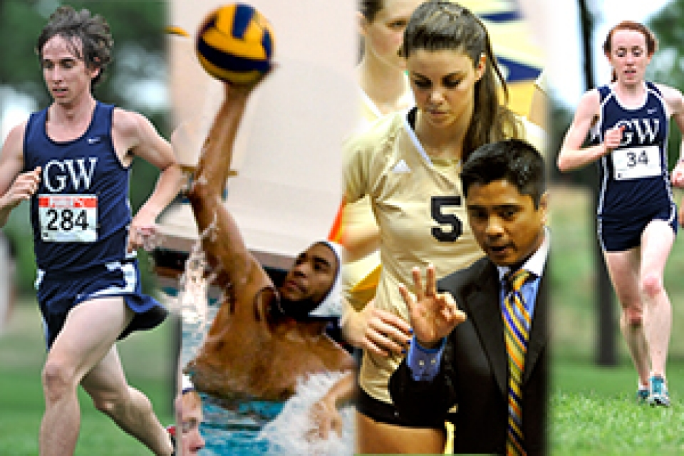 series of GW sports in action, including soccer, cross country, water polo and volleyball