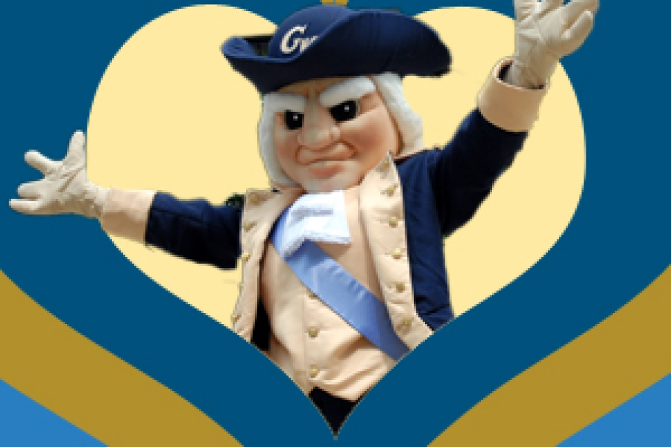 GW mascot George in front of background with buff and blue heart with arms outstretched