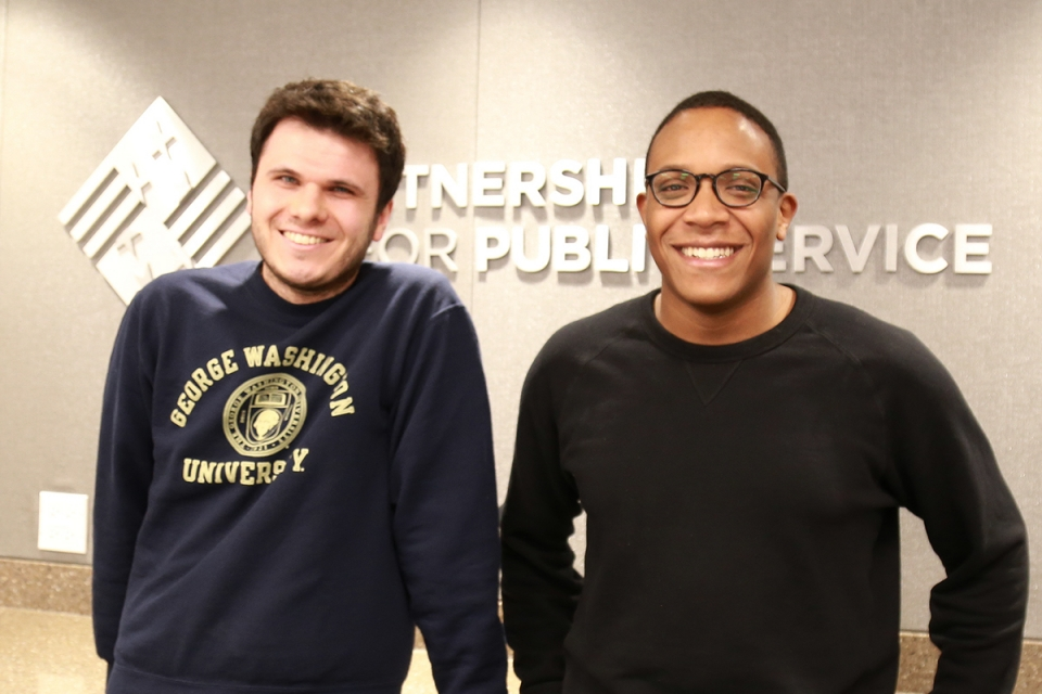 Peter Kamoscai and Brandon Lardy at the Partnership for Public Service. (Ruth Steinhardt/GW Today)