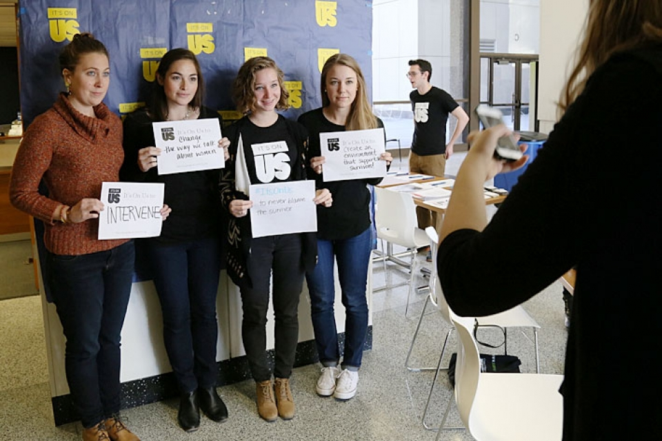 GW students offered messages of support at the closing event of the National Week of Action.