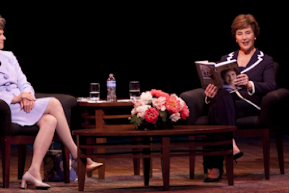 Laura Bush on stage discussing her book with Cokie Roberts