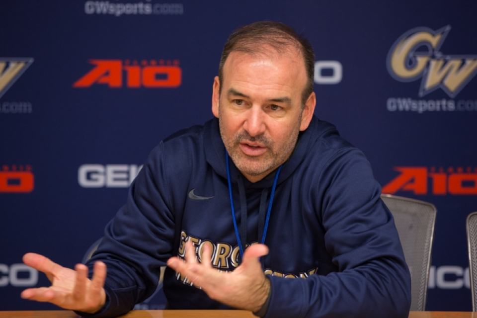 Coach Mike Lonergan's squad will host VMI Tuesday at the Smith Center. (William Atkins/GW Today)
