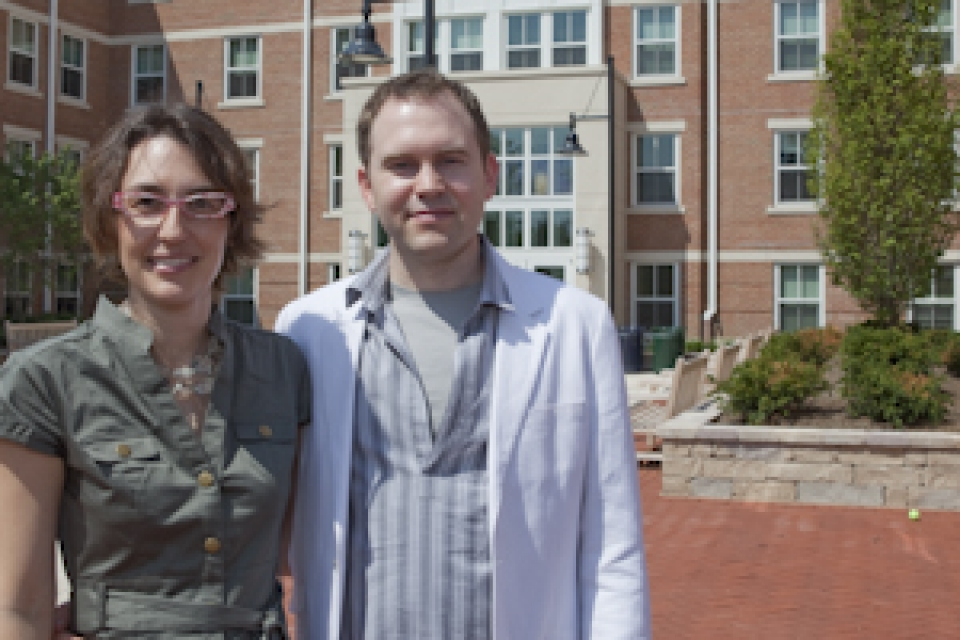 Melissa Keeley and Christopher Klemek outside of West Hall