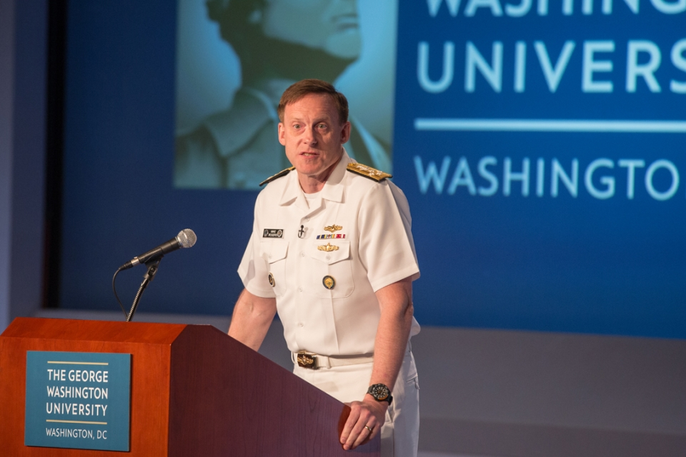Adm. Michael Rogers, director of the National Security Agency, visited GW in May.