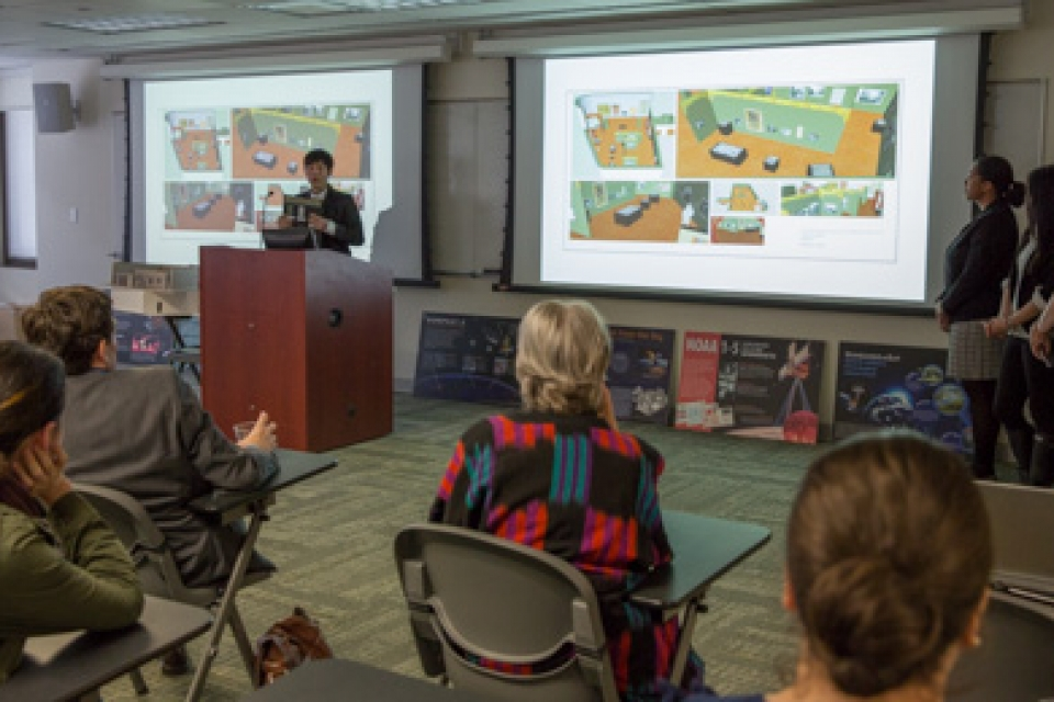 Museum studies students present their ideas for one of the new museum's future exhibits on Chinese textiles.