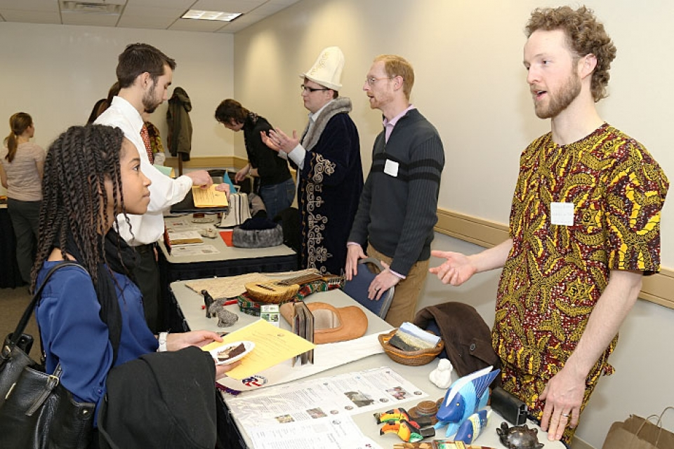 Students Make Global Connections At Gw Peace Corps Day  Gw Today  Good High School Essay Topics Peace Corps Persuasive Essay Examples High School also Online Group Study  Academic Freelance Writer