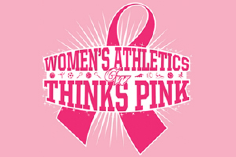 "graphical representation of pink breast cancer ribbon, ""GW Women's Athletics, Thinks Pink"""