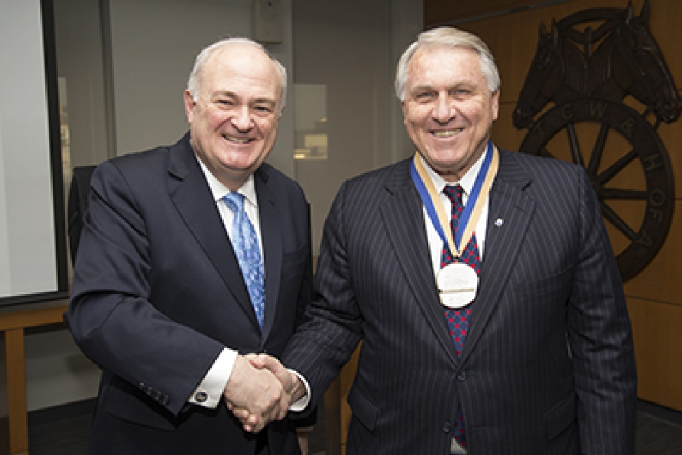 GW President Steven Knapp and Teamsters' General President James P. Hoffa