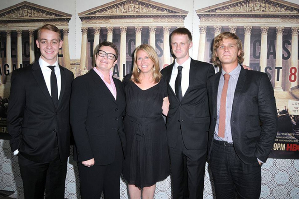 Right to left: Sophomore Spencer Perry; his mother, Kris Perry; his stepmother, Sandy Stier; his twin brother, Elliott Perry; an