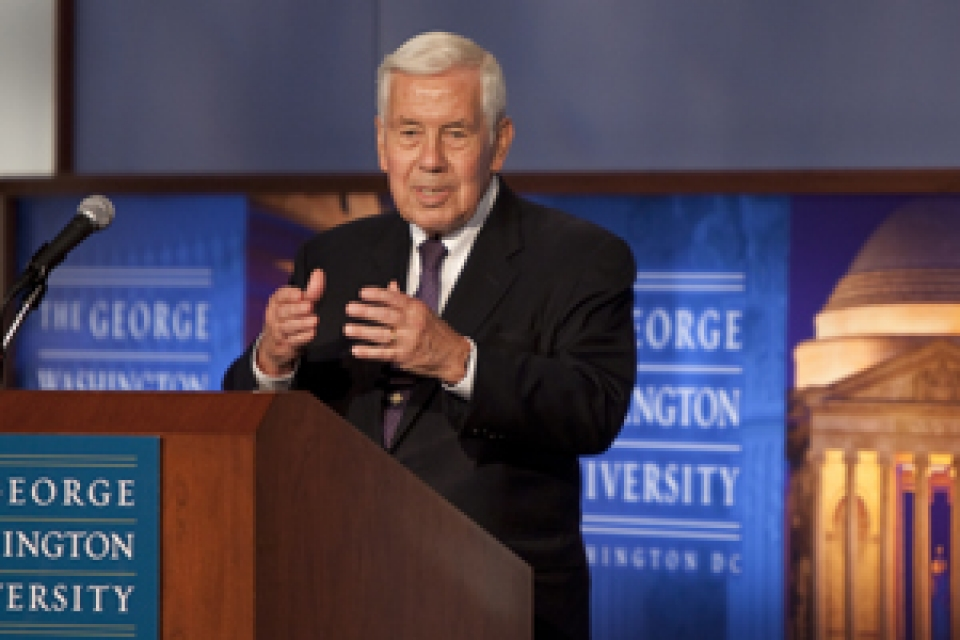Sen. Richard Lugar at podium