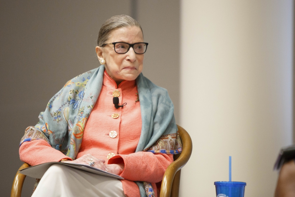 Ruth Bader Ginsburg at GW in 2017. (Logan Werlinger/GW Today)