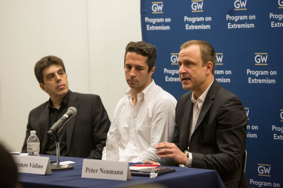 From left, panelists Sebastian Rotella, Lorenzo Vidino and Peter Neumann. (Logan Werlinger/GW Today)