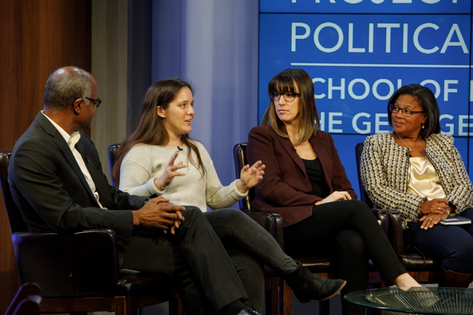 From left: Jeffrey Blount, Samira Baird, Crystal Benton and Chrissie McHenry discuss the ethics of various types of political co