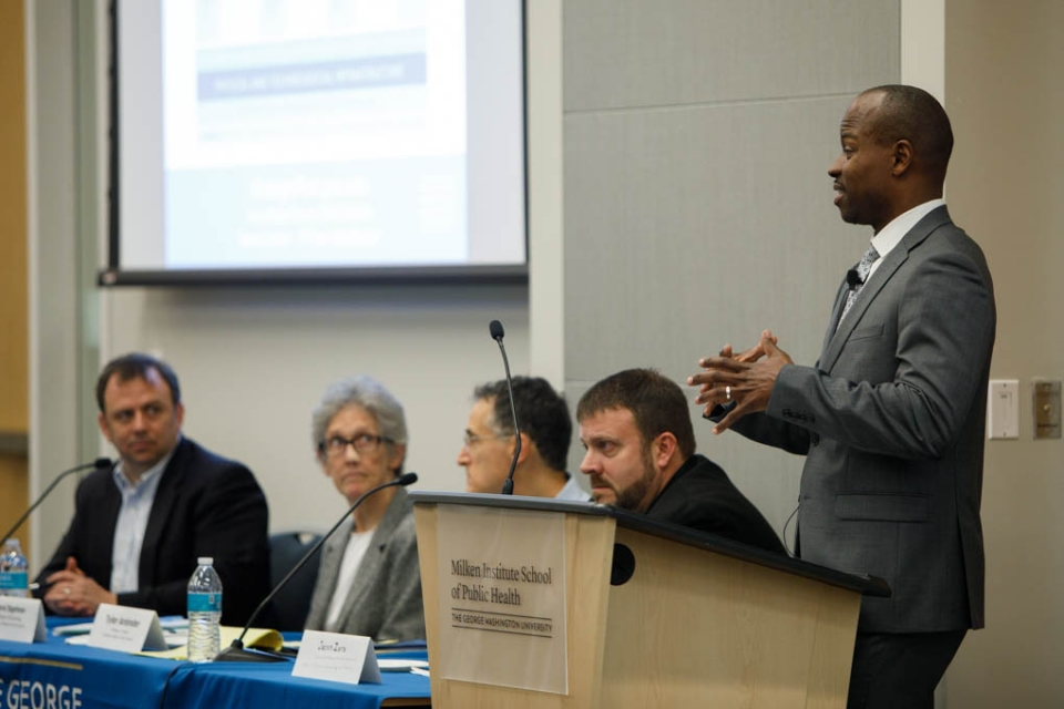 Provost M. Brian Blake speaks to community members at Wednesday's town hall. (William Atkins/GW Today)