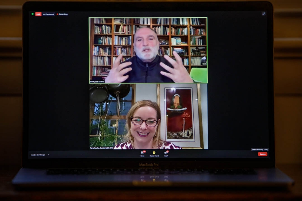 Jose Andres and Tara Scully on Zoom