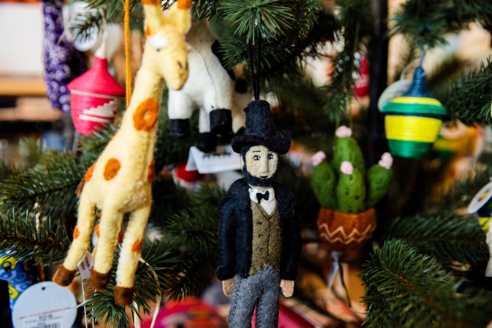 Charming felted ornaments are among the gifts on offer at the George Washington University Museum and the Textile Museum.