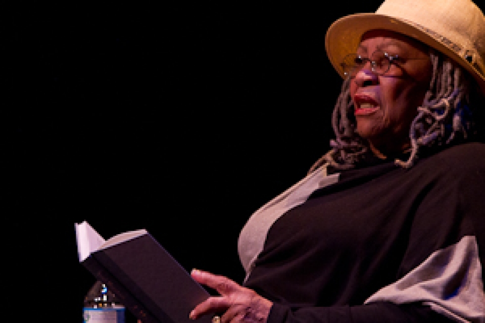 Toni Morrison reading from book on stage