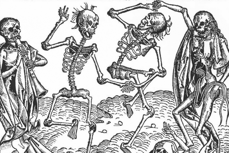 "The ""Dance of Death"" woodcut from 1493, attributed to Michael Wolgemut, suggests that"