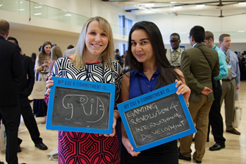 Two GW students at Clinton Global Initiative University annual conference