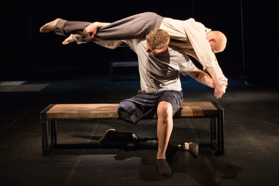 "Paul Hurley and Keith A. Thompson perform in ""Healing Wars."" Photo by Teresa Wood."