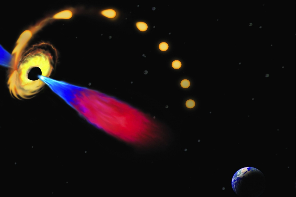 Artist's conception of a star being drawn toward a black hole and destroyed, and the black hole later emitting a jet of plasma c