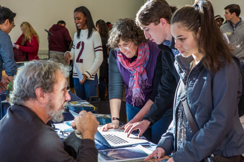 Some of the more than 1,000 art school aspirants who attended Saturday's National Portfolio Day at GW have their work critiqued.