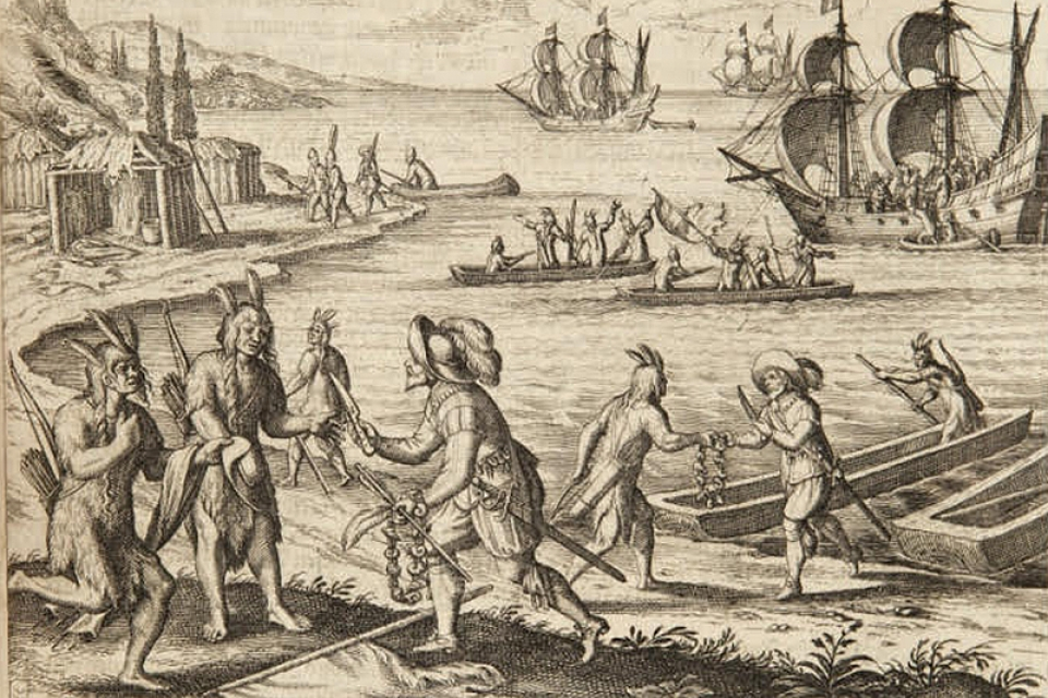 Colonists trade with Wampanoag Indians at Martha's Vineyard