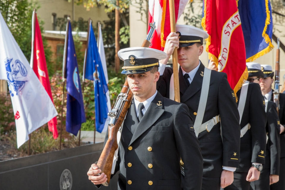 The GW Navy ROTC presented colors at the Veterans Day wreath laying.