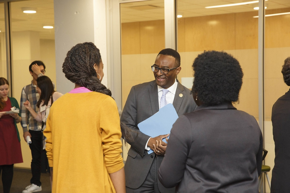 Dean Ben Vinson III with students
