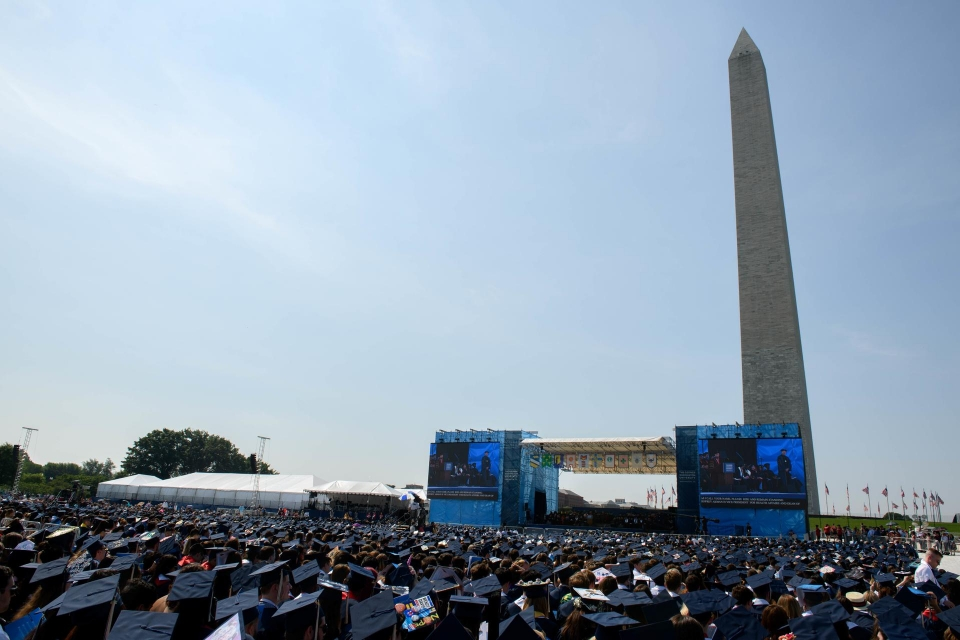 Washington Monument behind the commencement stage