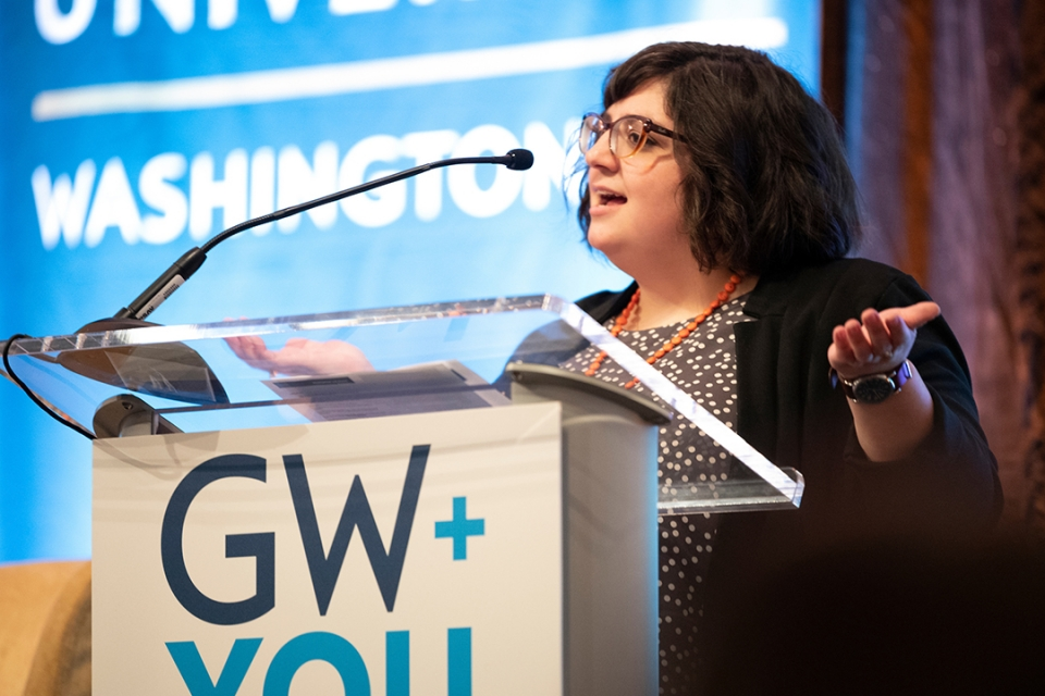 "Christine ""Chrissy"" Caggiano, B.A. '06 opens the program at GW + You Philadelphia."