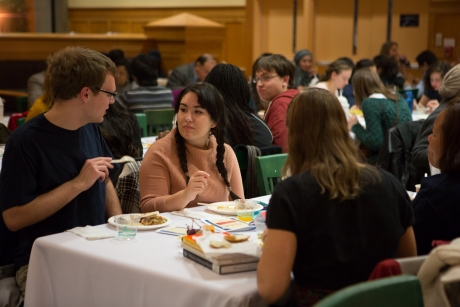 Student organizations representing the university's diverse religious community gathered for the Interfaith Dinner.