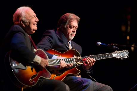 Jazz guitarists Bucky Pizzarelli and Ed Laub impress with their seven-string guitars.